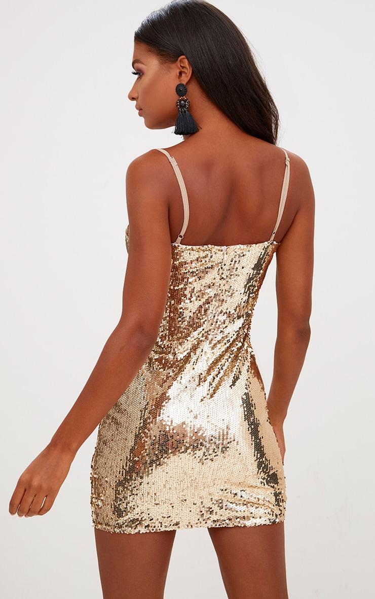 Gold Square Neck Sequin Bodycon Dress 2
