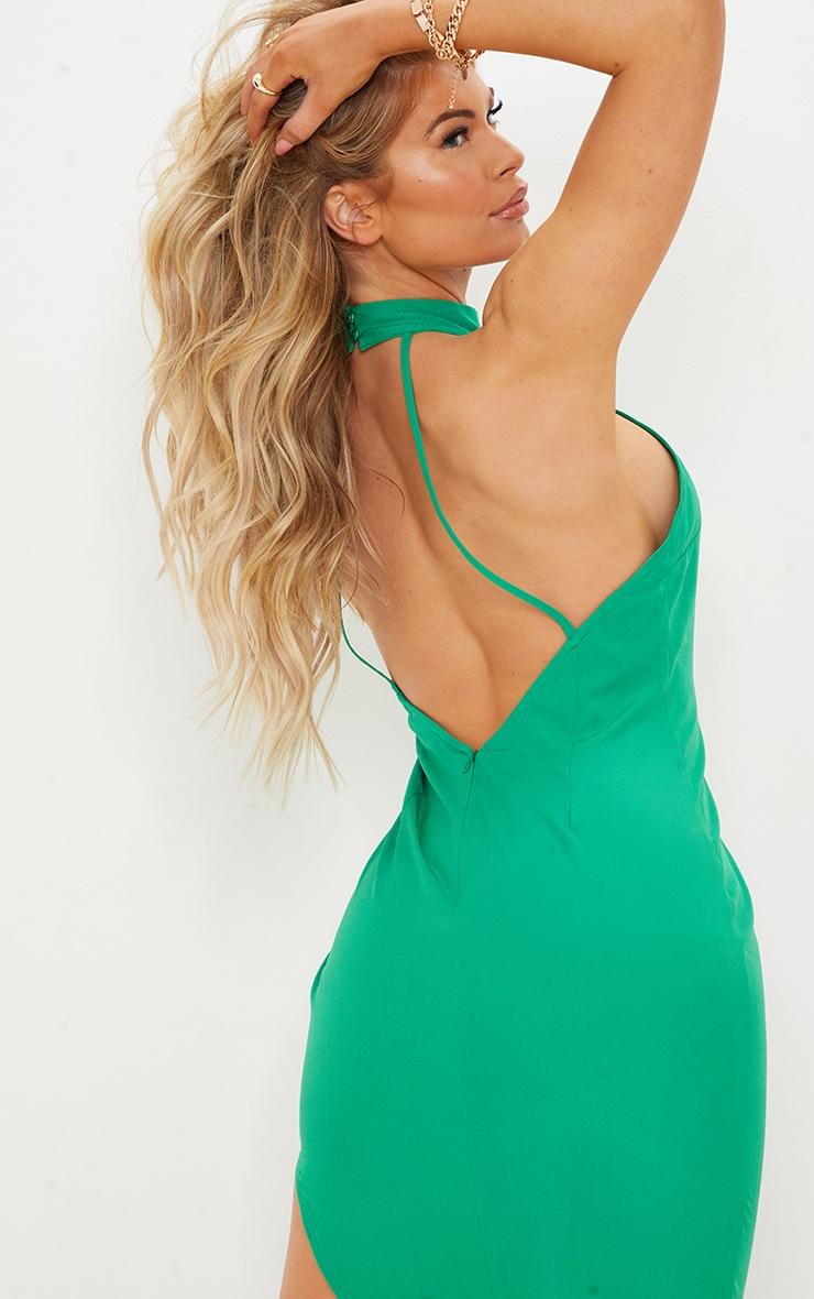 Green High Neck Open Back Detail Asymmetric Midi Dress 4