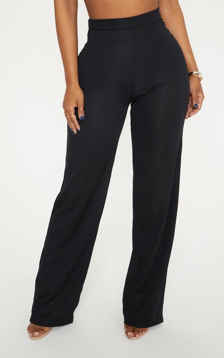 Shape Black High Waist Ribbed Wide Leg Trousers 2