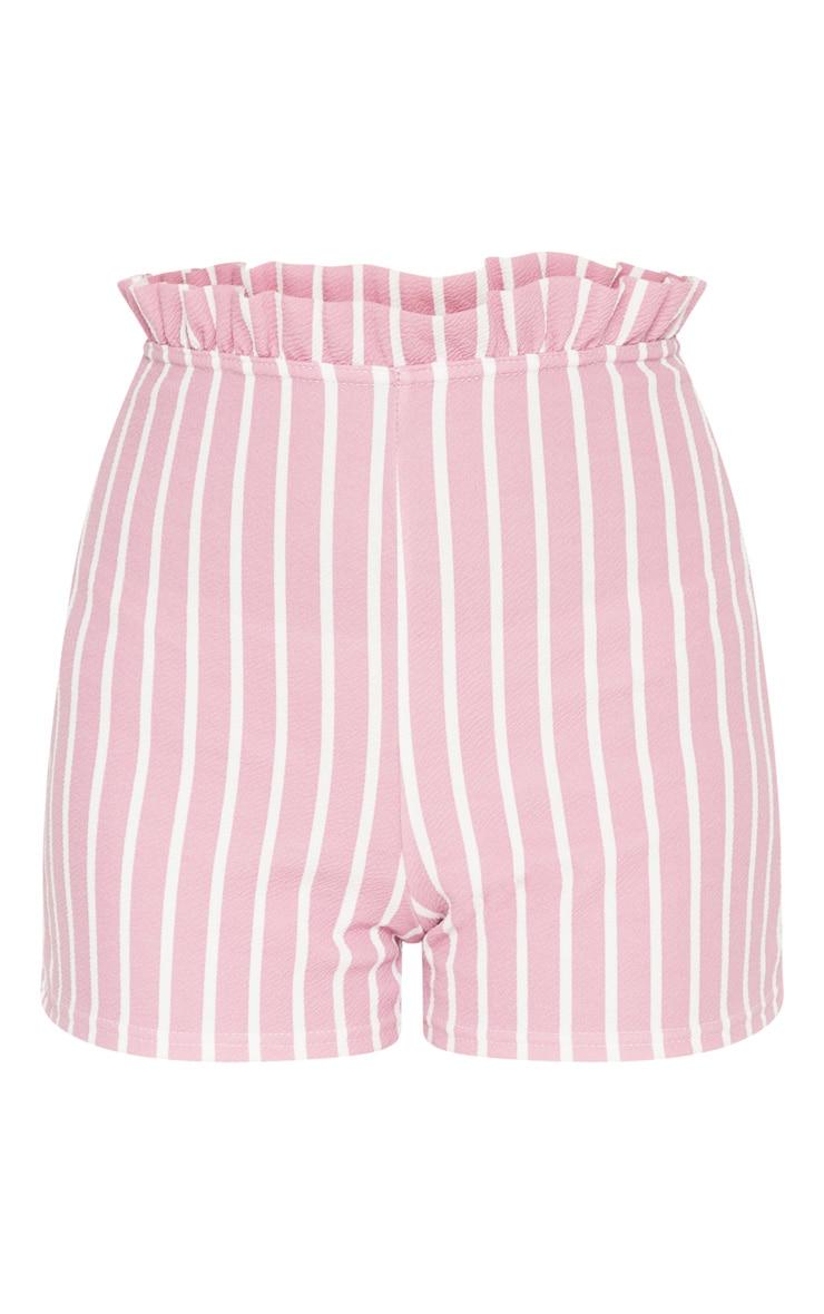 Pink Stripe Frill Detail Shorts 3