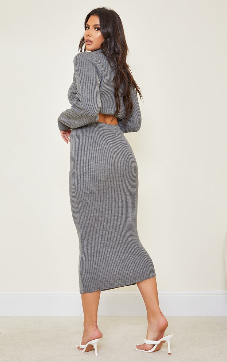 Tall Dark Grey Roll Neck Cropped Knitted Sweater 2