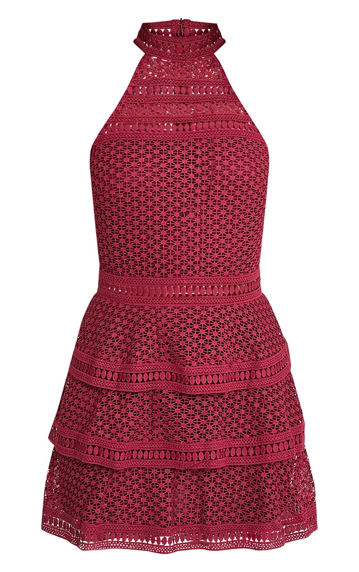 Berry Lace Panel Tiered Bodycon Dress 3