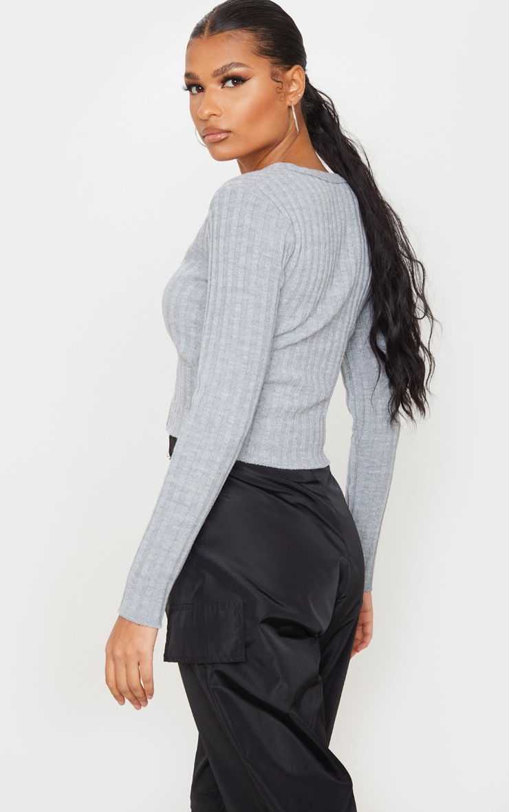 Grey Double Ended Zip Wide Rib Knitted Top 2