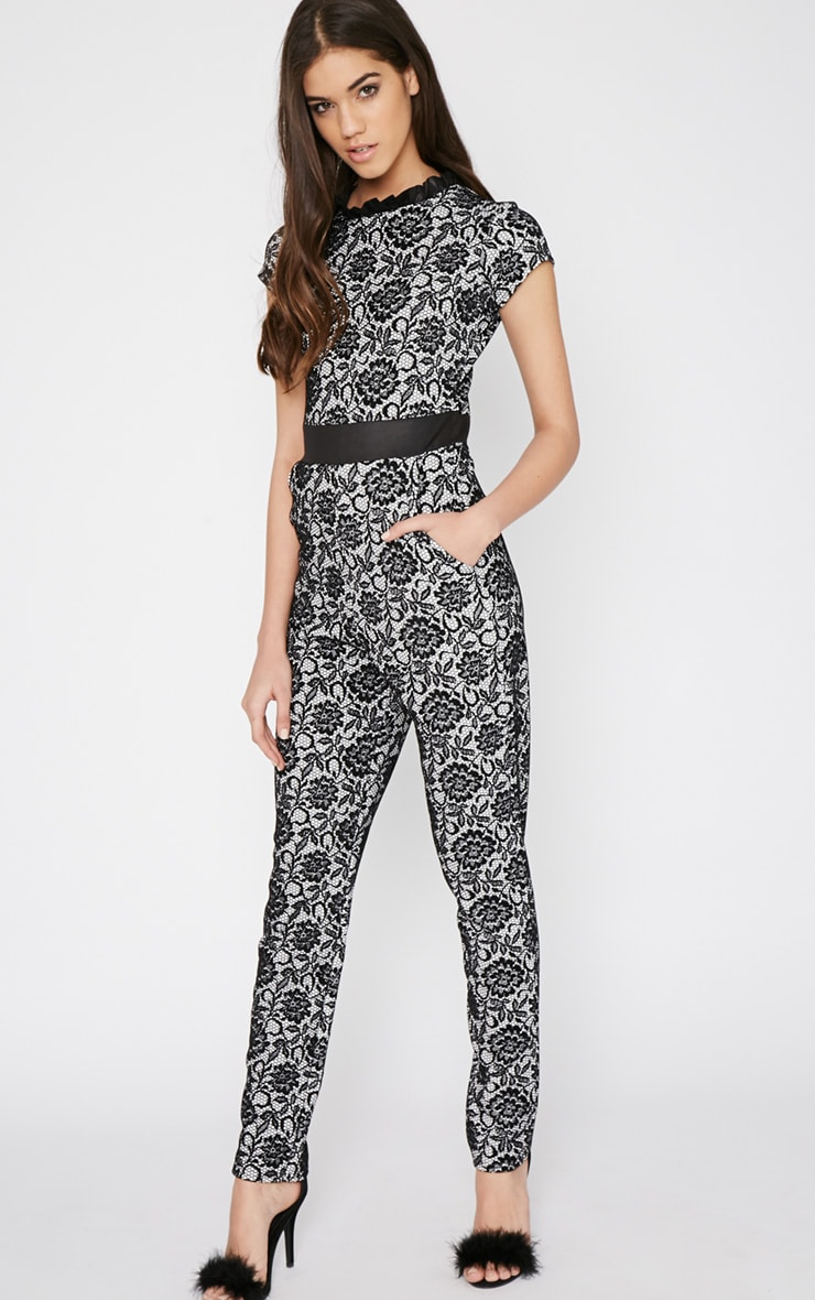Viola Black Lace Print Jumpsuit 1
