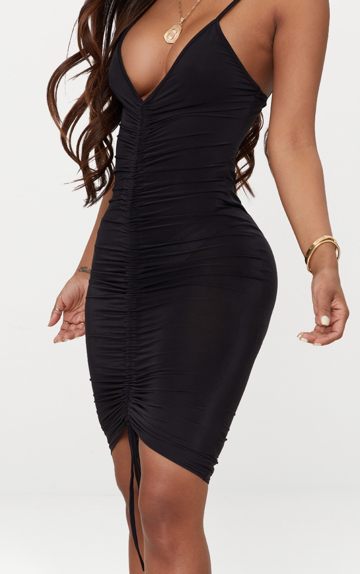 Shape Black Slinky Ruched Strappy Midi Dress 4