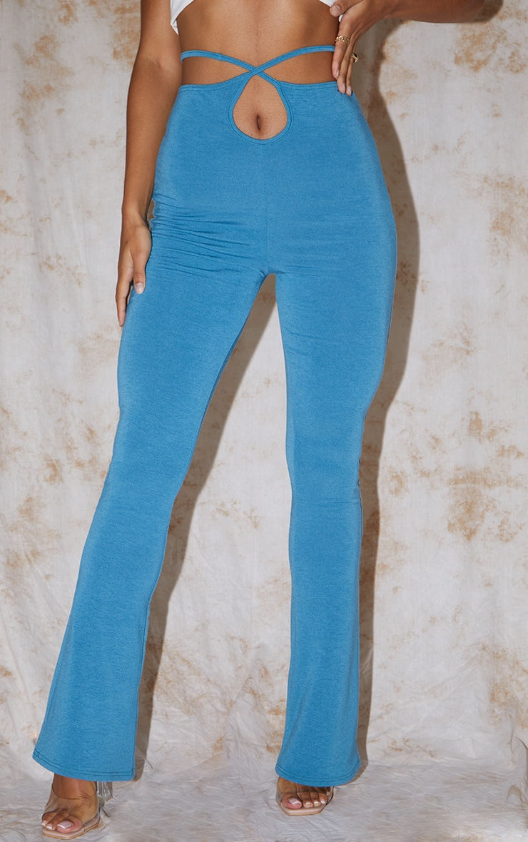 RECYCLED Mineral Blue Contour Jersey Tie Waist Flared Trousers 2