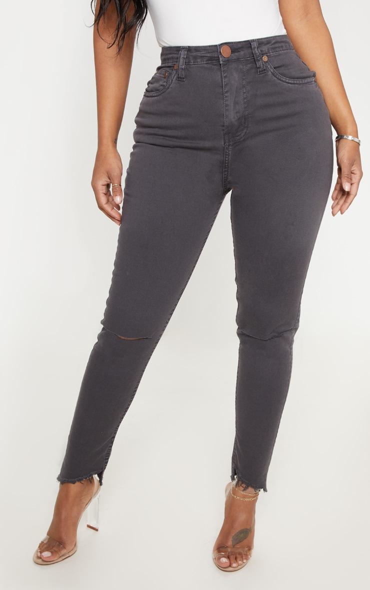 Shape Charcoal Distressed High Waisted Skinny Jeans 2