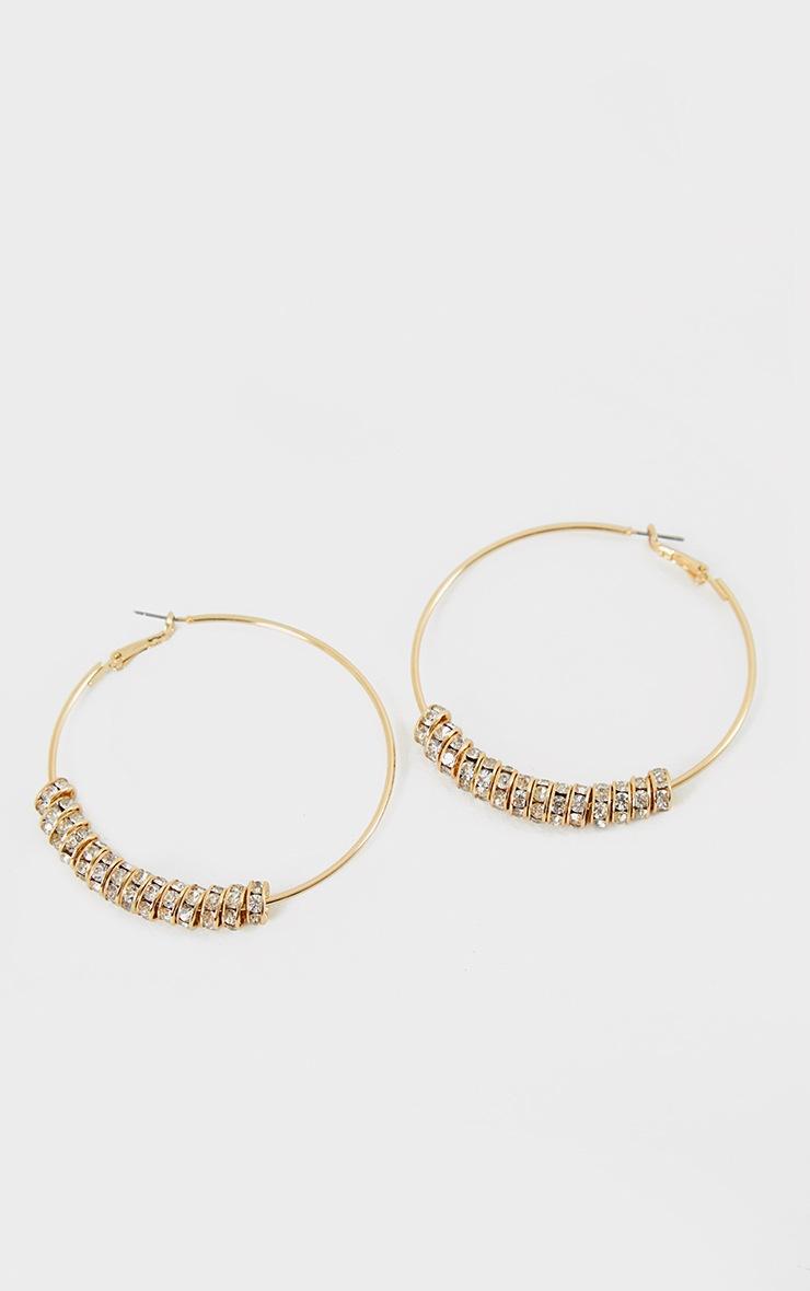 Gold Oversized Diamante Charm Hoop Earrings 2