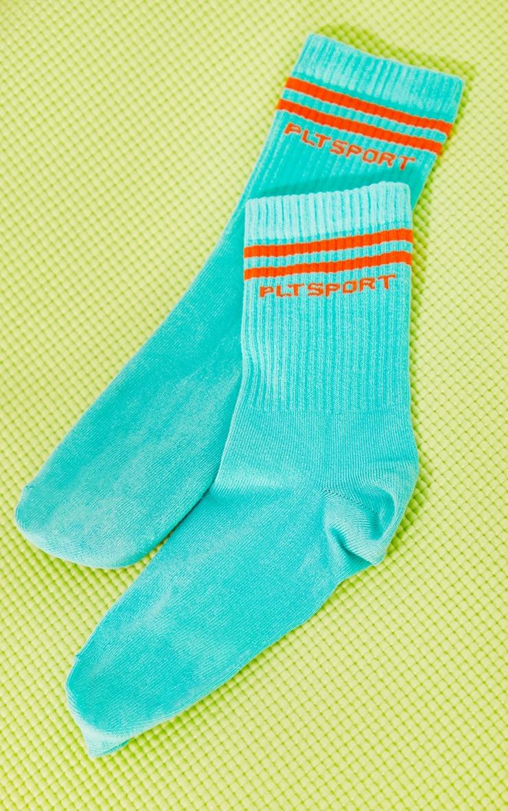 PRETTYLITTLETHING Turquoise Sports Socks 3