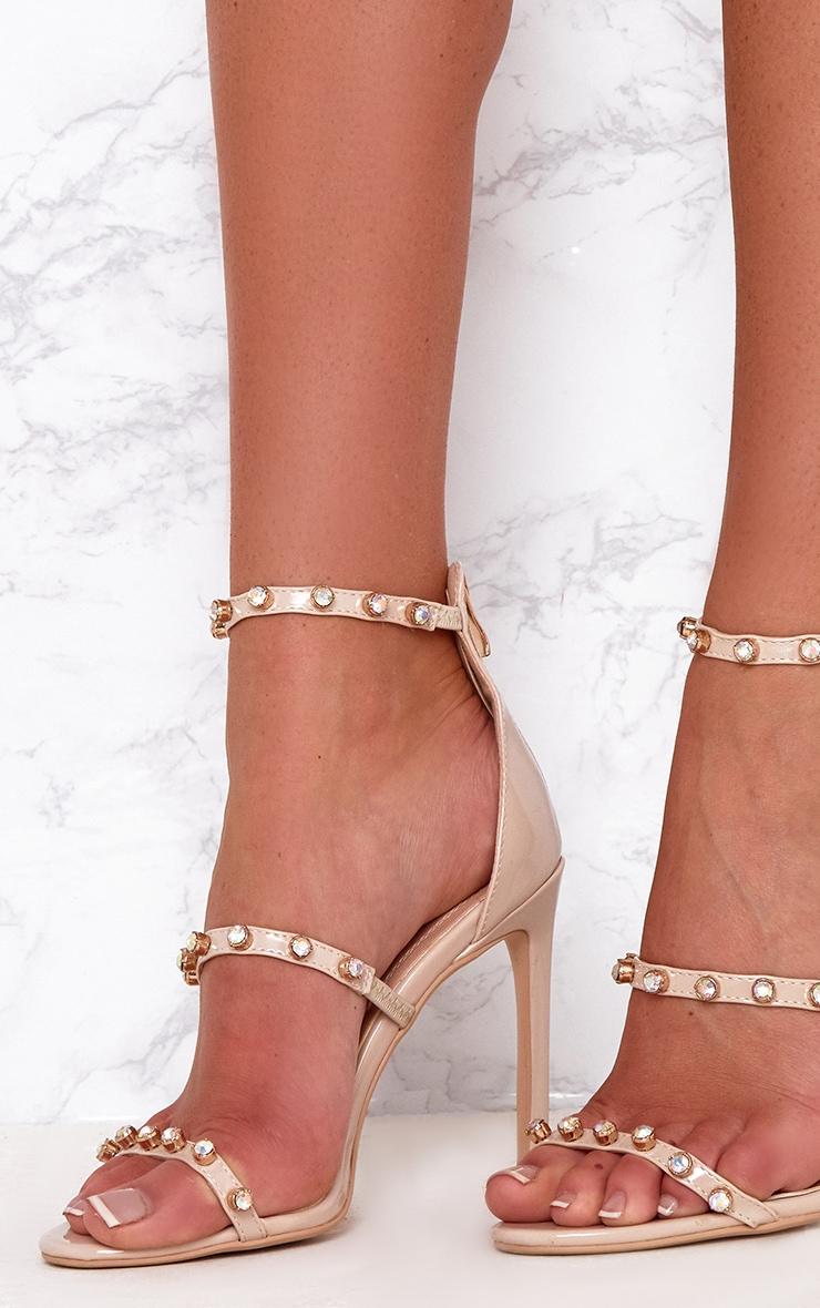 Nude Diamante Three Strap Heels 5