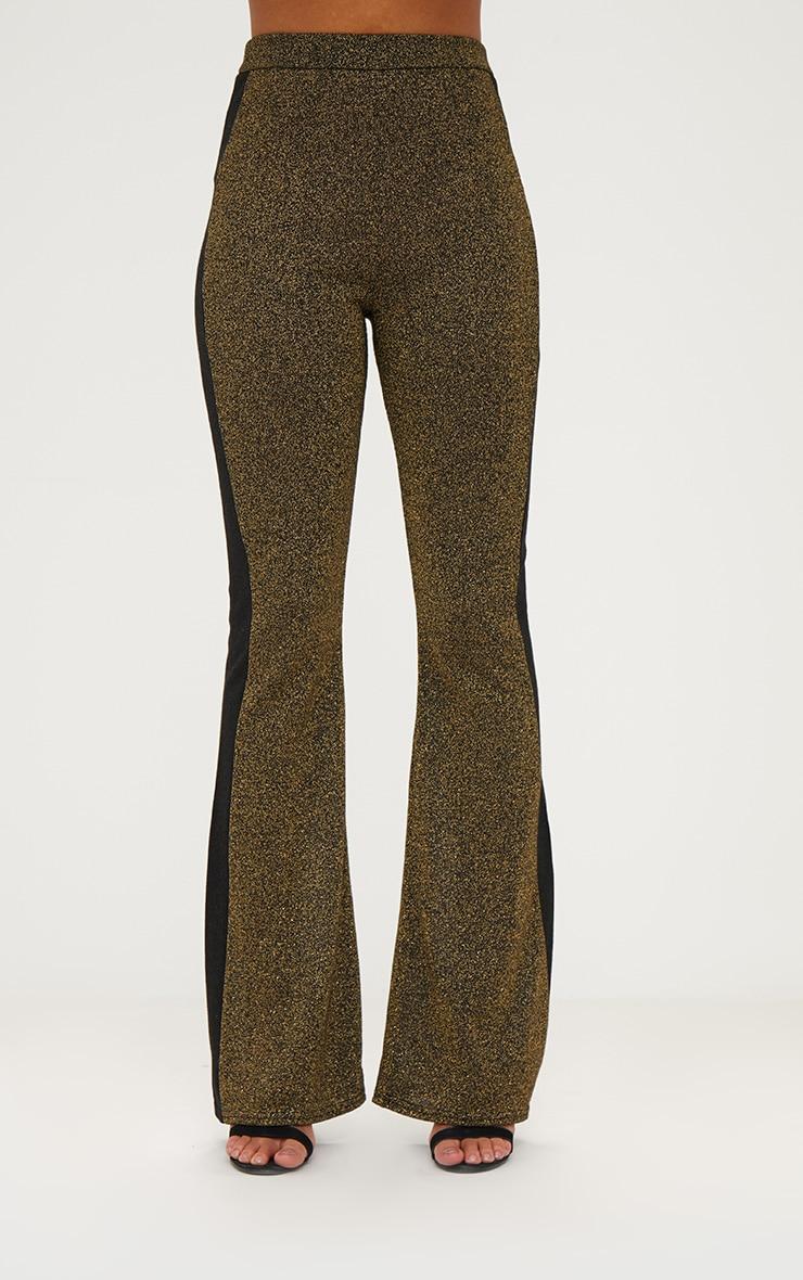 Gold Metallic Track Stripe Kick Flare Trousers 2