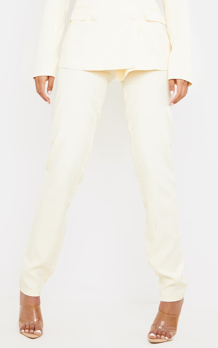Tall  Cream High Waisted Suit Pants 2