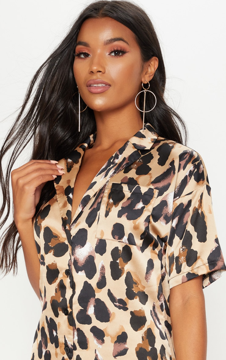 Leopard Print Short Sleeve Shirt Dress 5