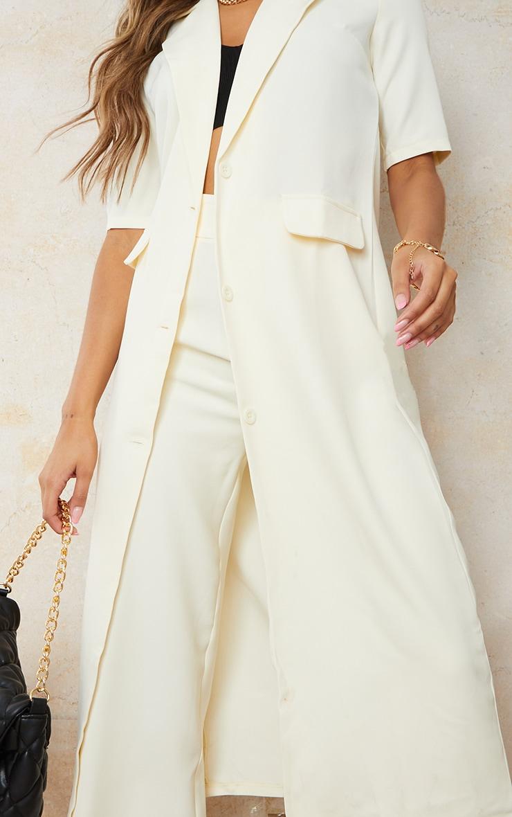 Cream Stretch Woven Pocket Detail Short Sleeve Longline Blazer 4