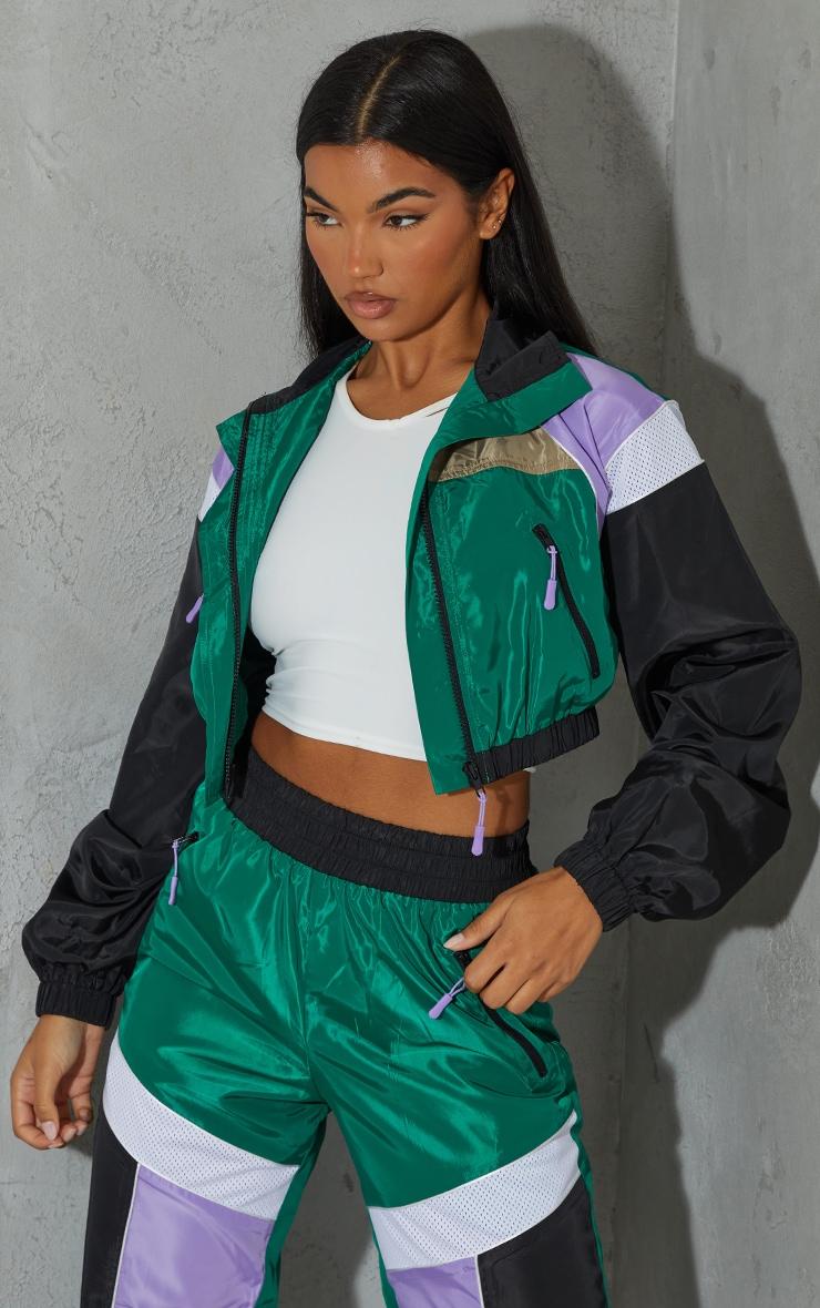 Green Colourblock Shell Zip Through Jacket 3