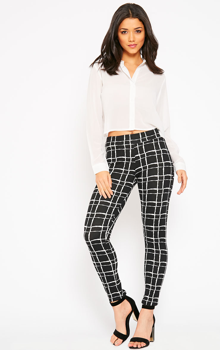 Lesia Black Grid Pants 1