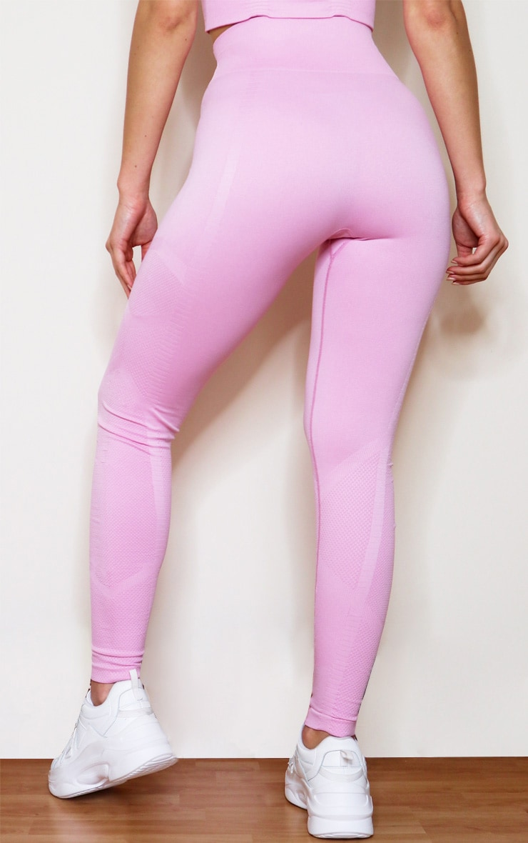 Pink Seamless High Waist Textured Gym Leggings 3