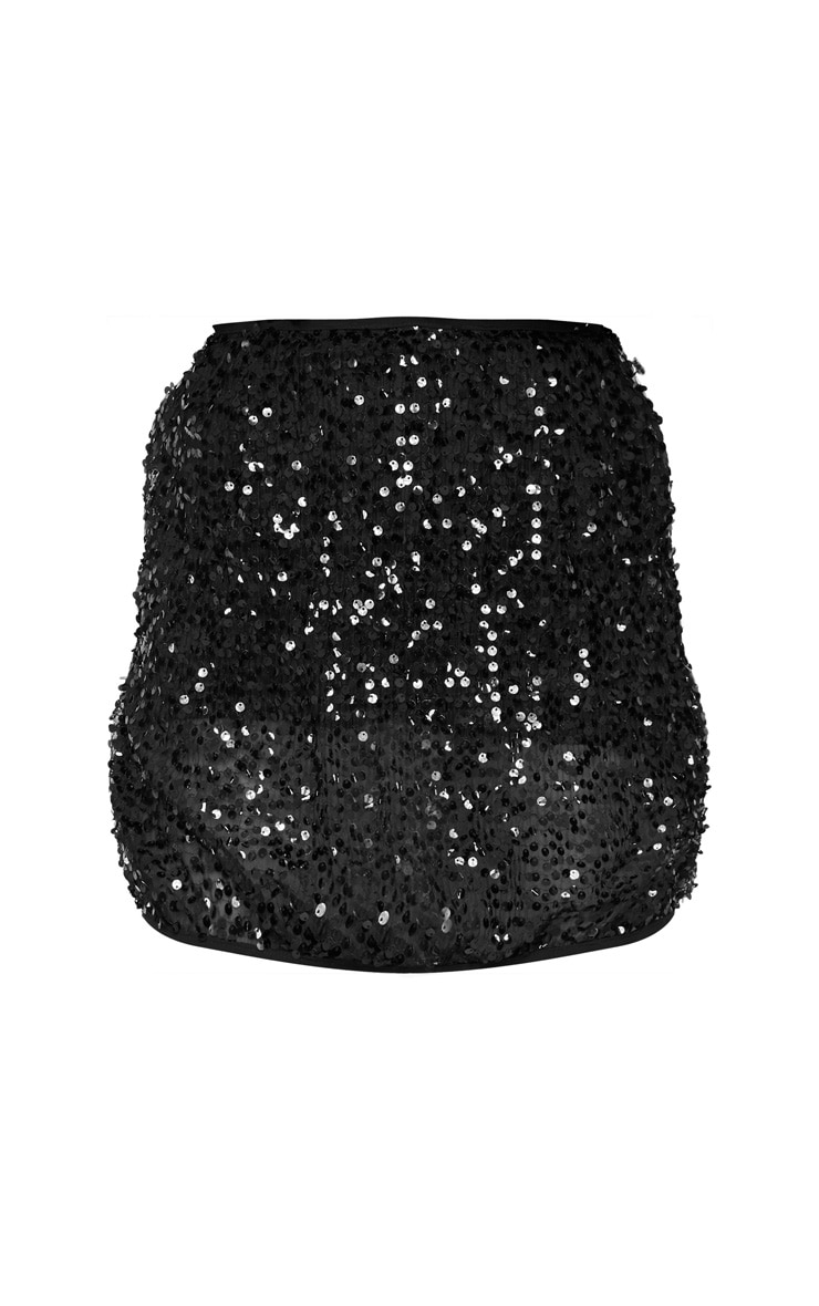 Black Mesh Sequin Mini Skirt 3