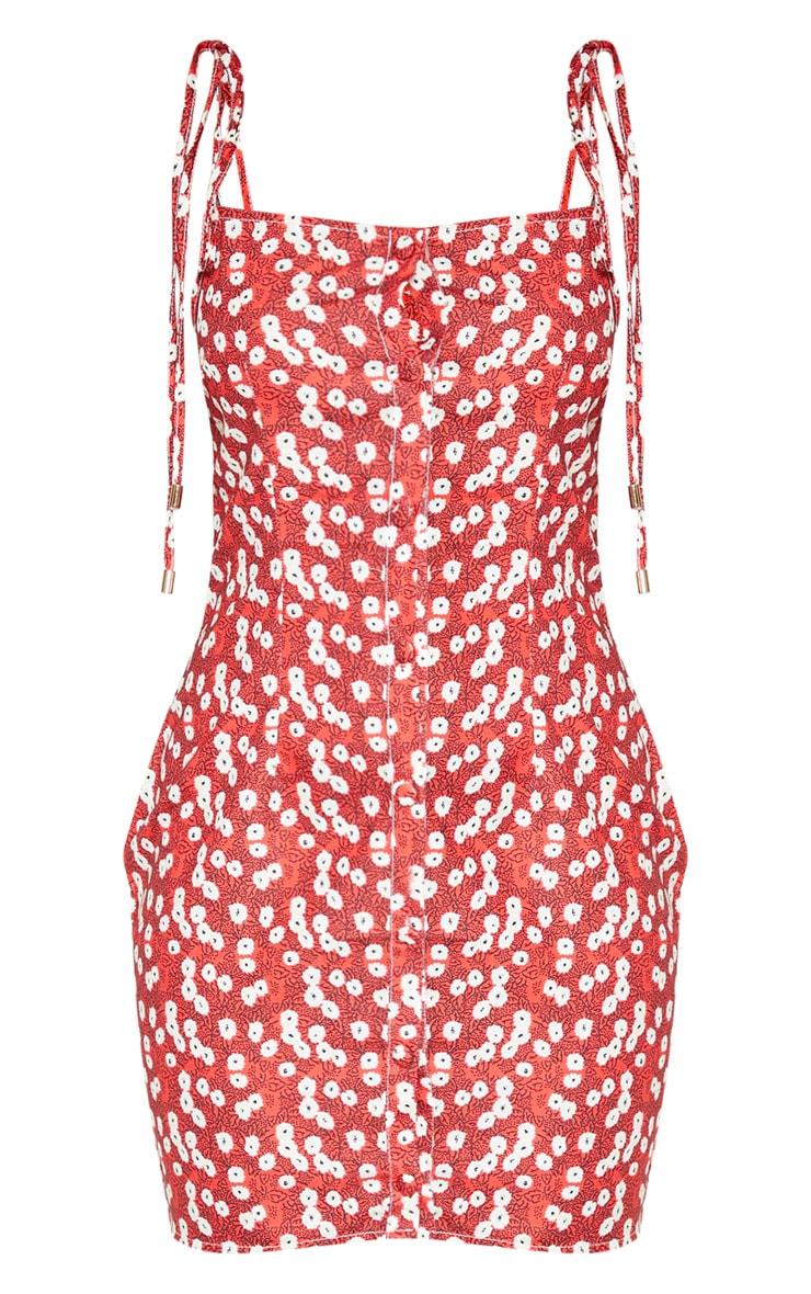 Red Ditsy Floral Tie Shoulder Shift Dress 3