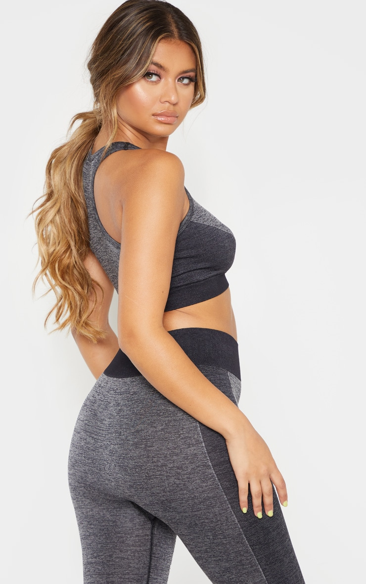 Dark Grey Seamless Contrast Side Sports Bra 2