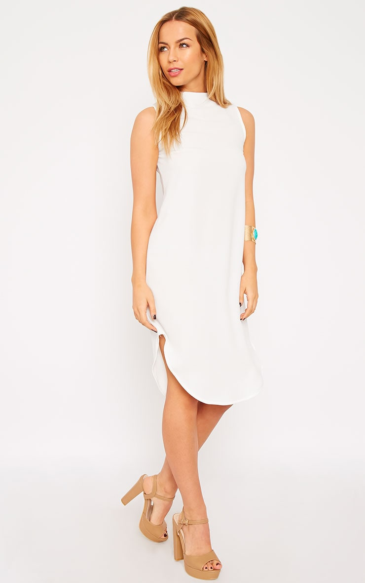 May White Crepe High Neck Dip Hem Shift Dress 1