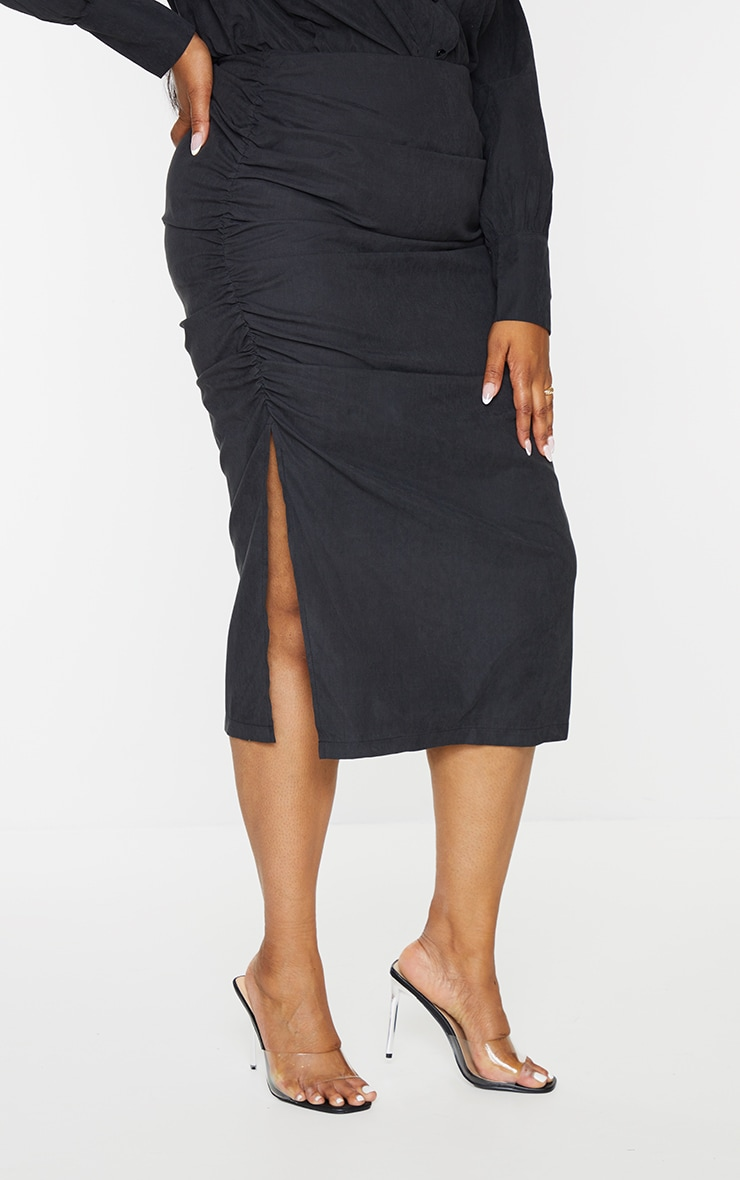 Plus Black Suede Textured Ruched Midi Skirt 2