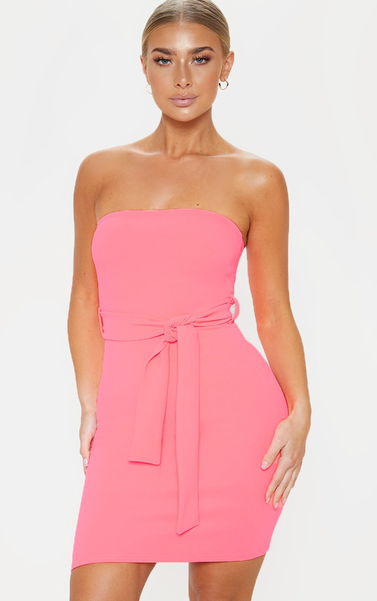 Neon Pink Bandeau Tie Waist Bodycon Dress 1