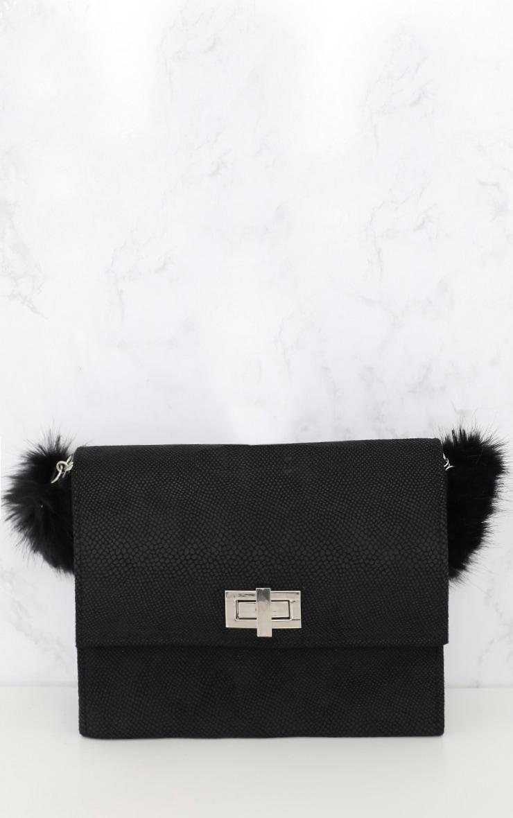 Black Faux Fur Handle Shoulder Bag 3