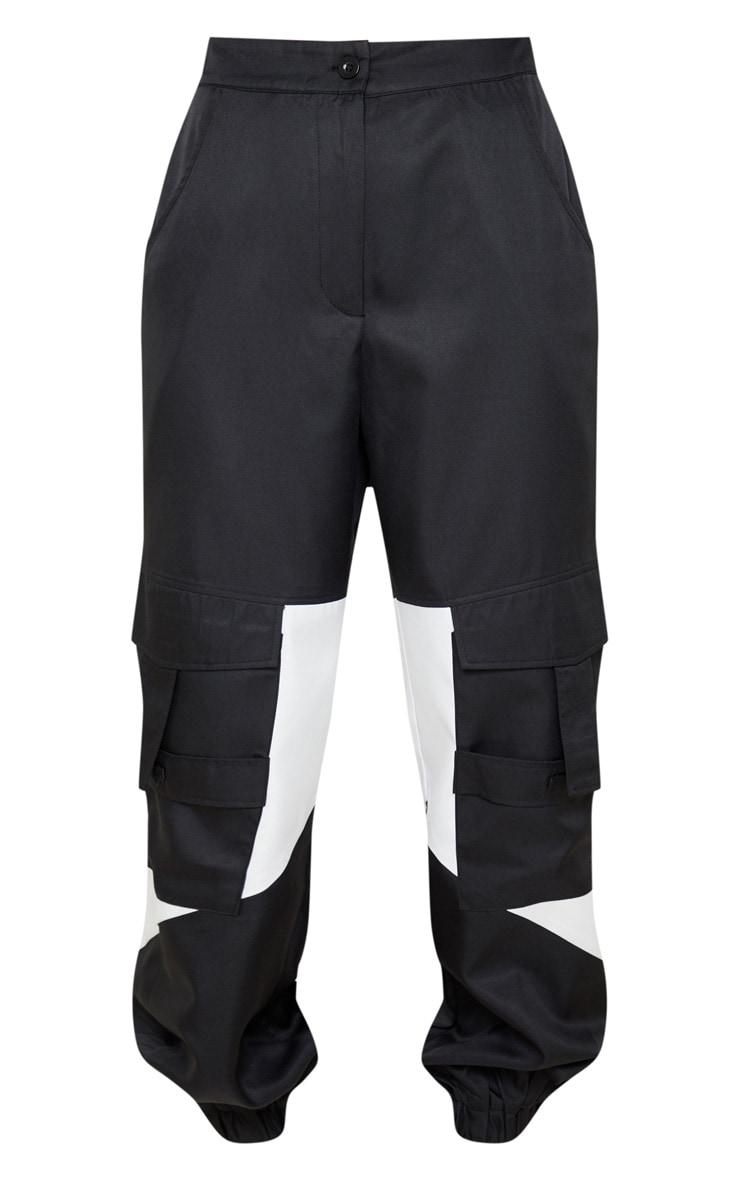 Black Cargo Contrast Pocket Trouser 4