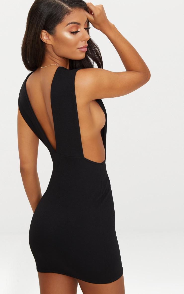 Black Extreme Plunge Strap Bodycon Dress 1