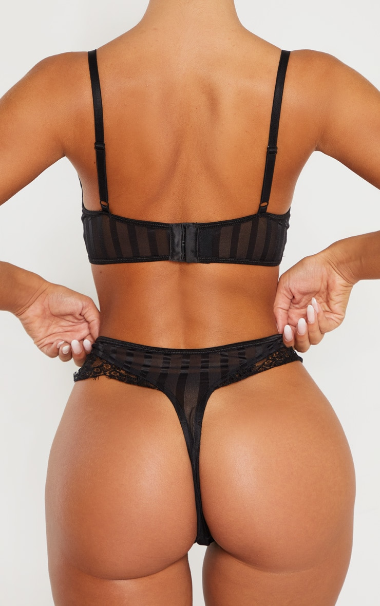 Black Striped Lace High Leg Thong 3
