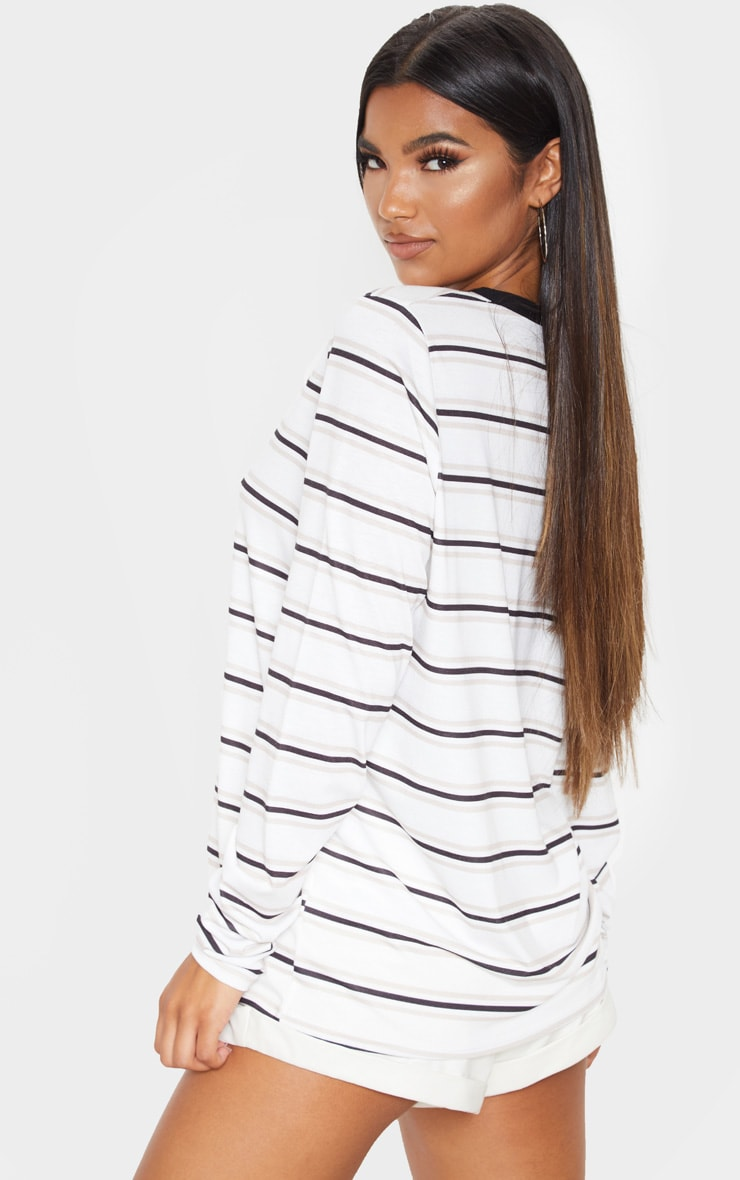 White Stripe Long Sleeve T Shirt 2