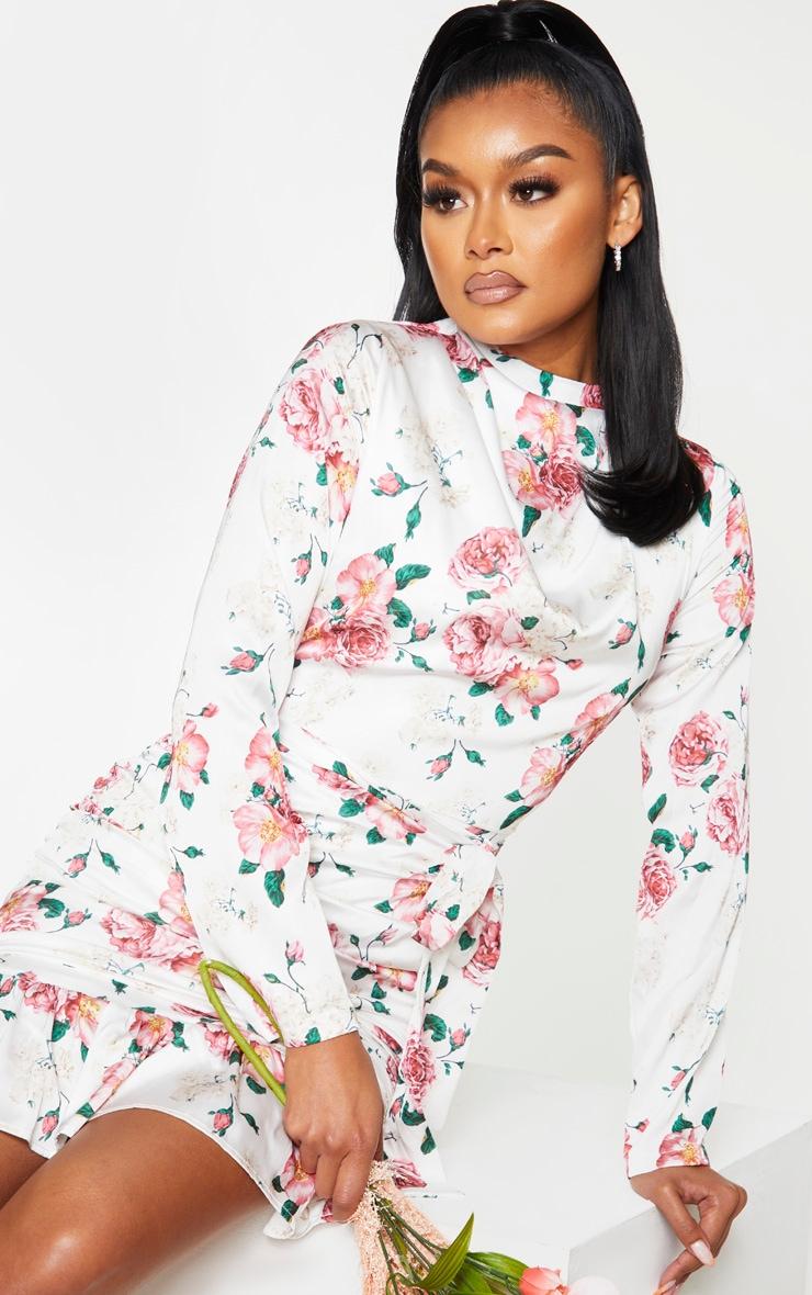 White Floral Print Satin Ruched Skirt Frill Hem Bodycon Dress 3