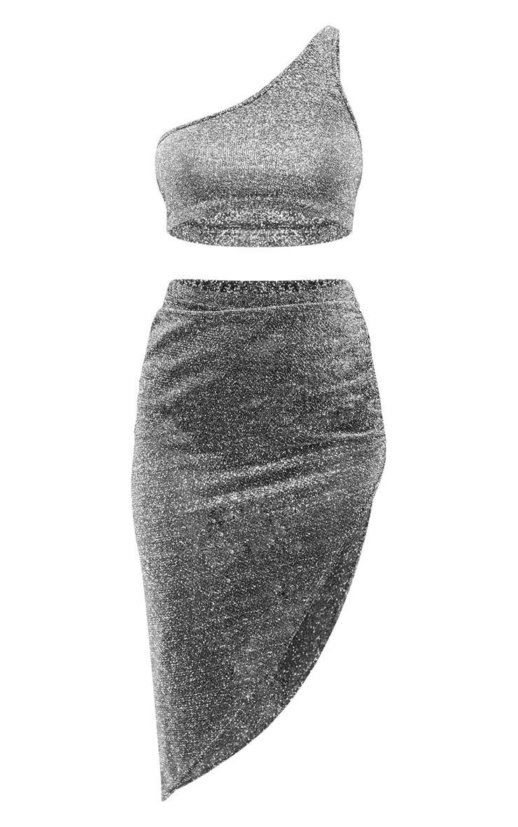Petite Silver Sheer Glitter Bardot and Ruched Midi Skirt Set  3