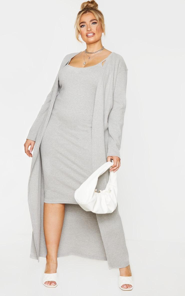 PLT Plus - Cardigan long côtelé brossé gris 1