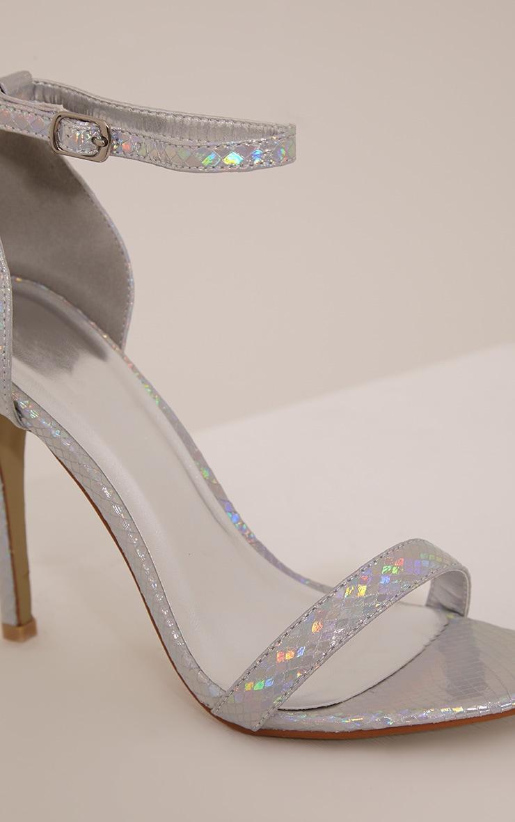 Franza Silver Metallic Strap Heeled Sandal 5