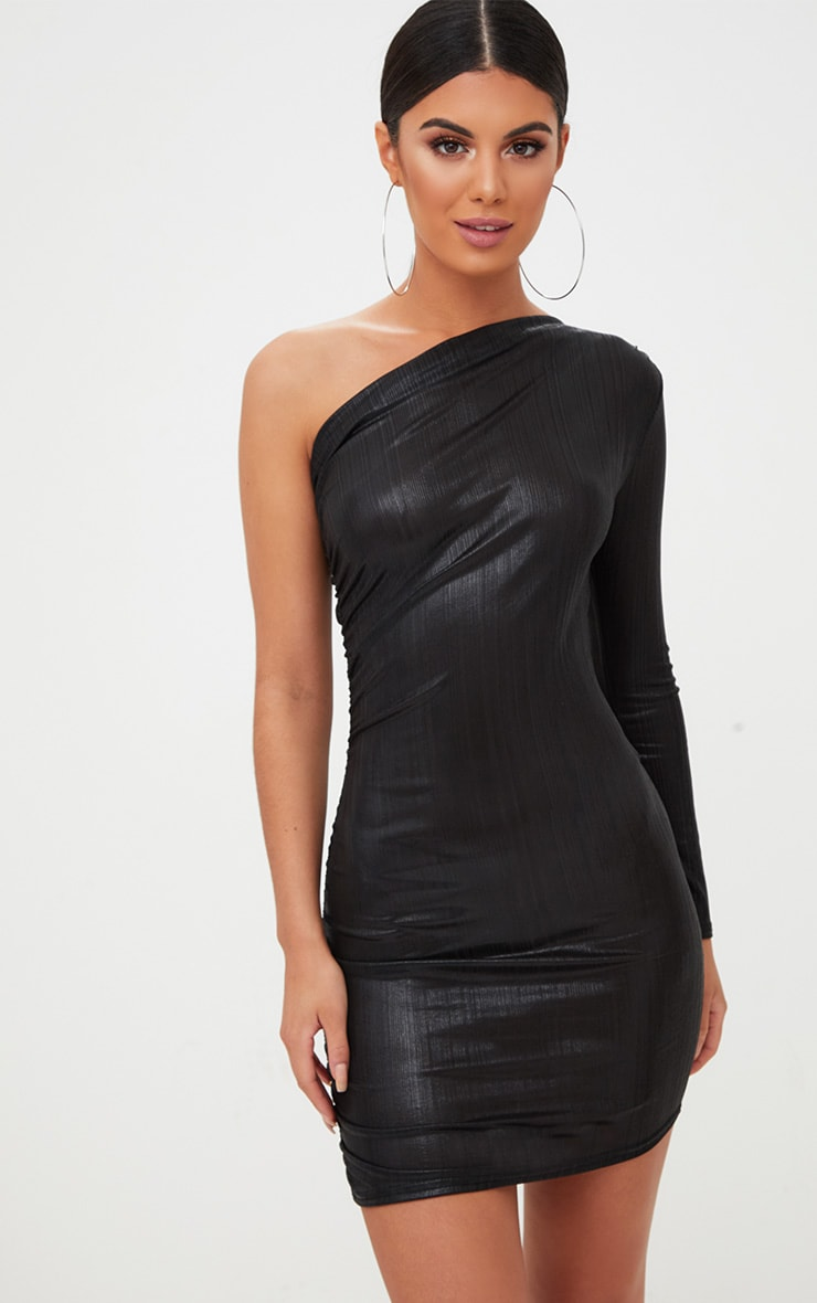 Black Foil One Shoulder Ruched Bodycon Dress 1