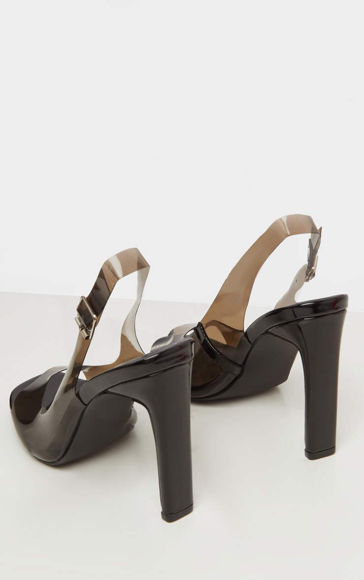 Black Wide Fit Square Toe Flat Heel Slingback Sandal 4