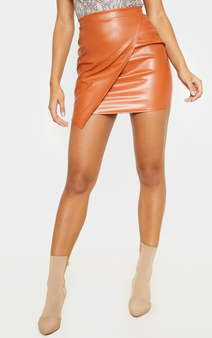 Chestnut Faux Leather Wrap Mini Skirt 2