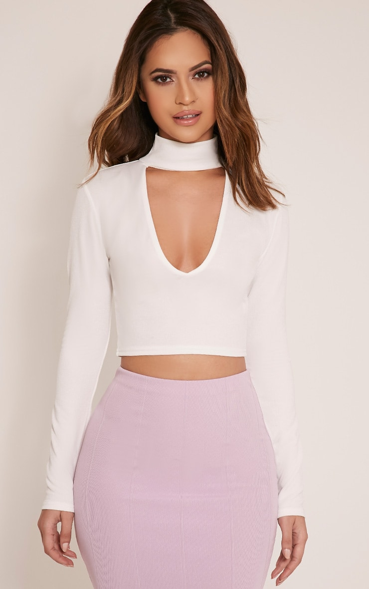Jenifer Cream Cut Out Neck Crop Top 1