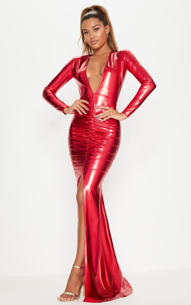 RED METALLIC RUCHED MAXI DRESS