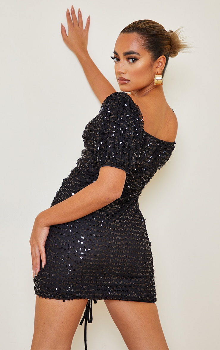 Petite Black Sequin Ruched Detail Bodycon Dress 2