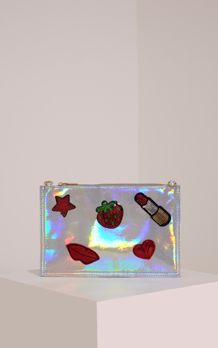 Carly Silver Holographic Patch Detail Clutch Bag 1
