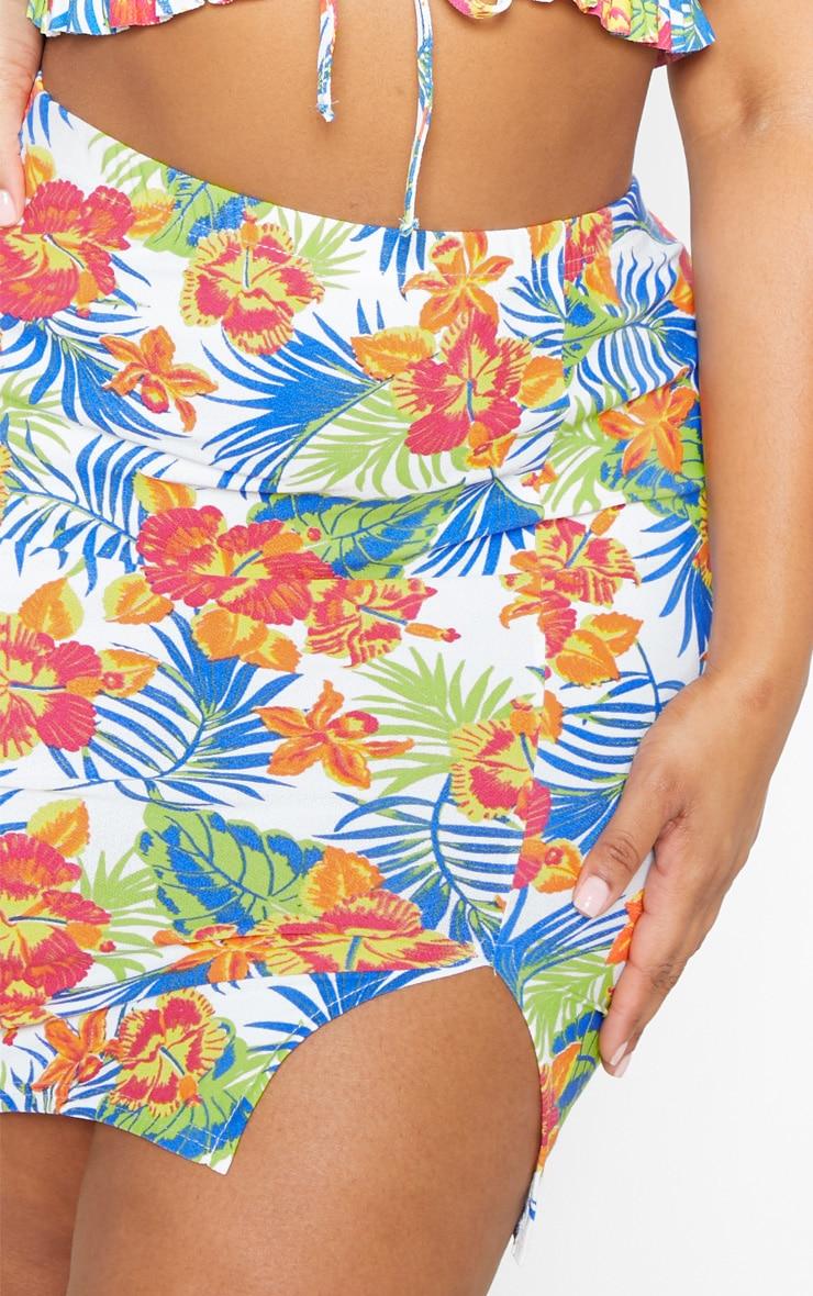 PLT Plus - Mini-jupe blanche à imprimé tropical fendue 6