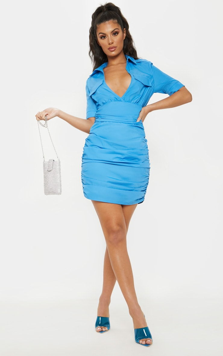 Bright Blue Short Sleeve Ruched Detail Shirt Dress 4