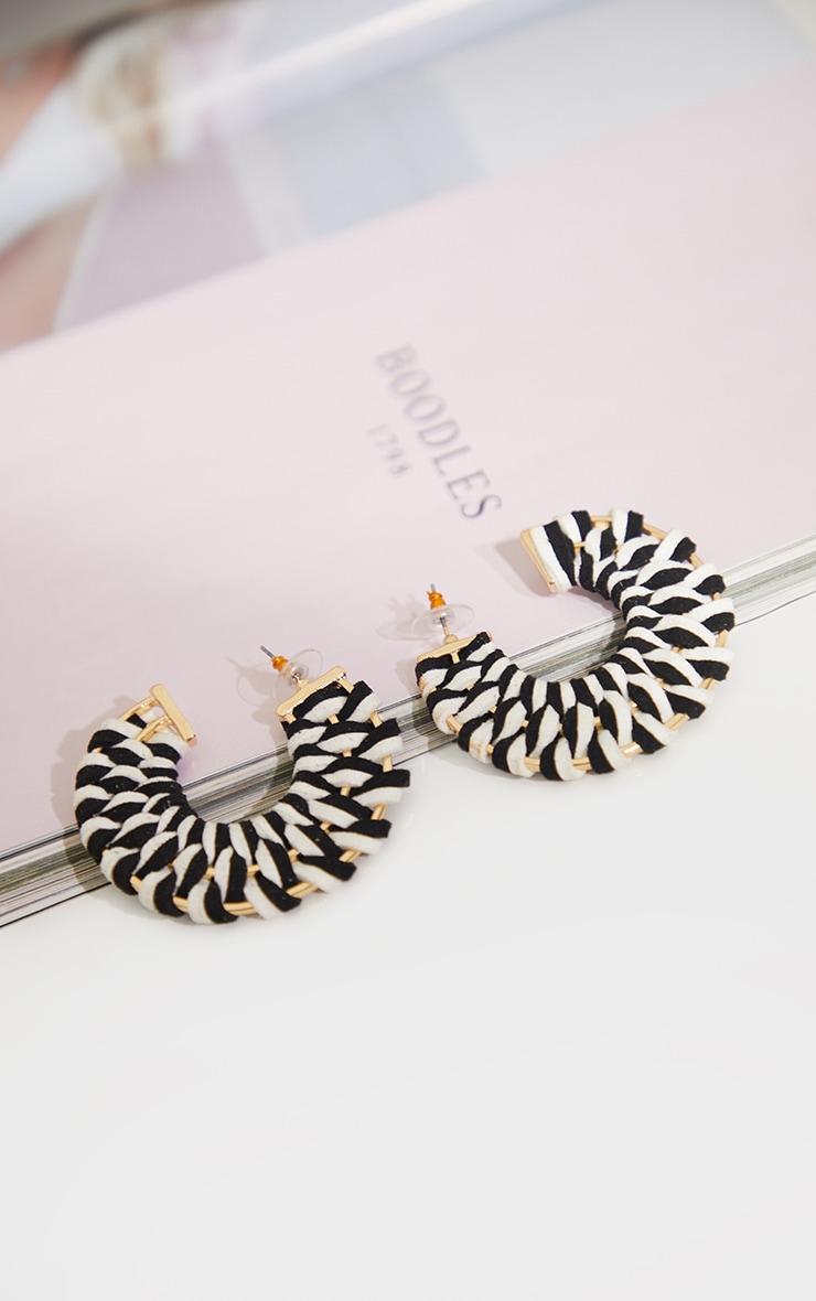 Monochrome Weave Chunky Hoop Earrings 1
