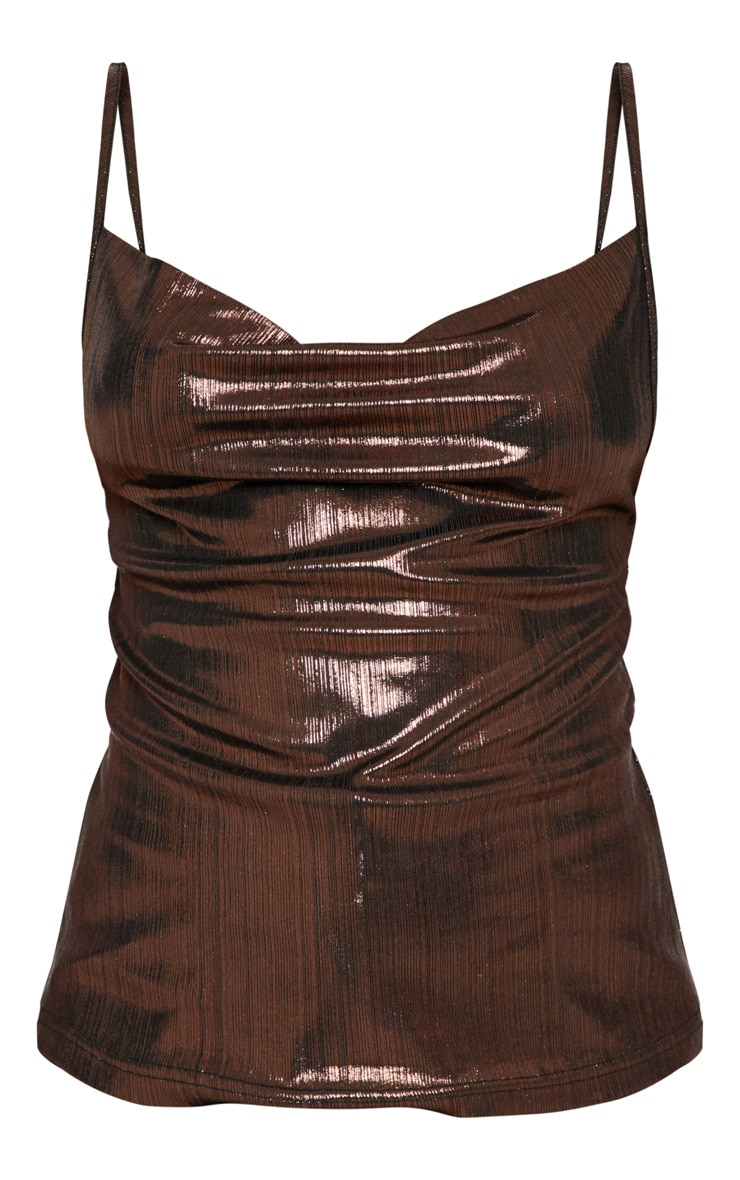 Petite Chocolate Brown Metallic Cowl Neck Cami Top 3