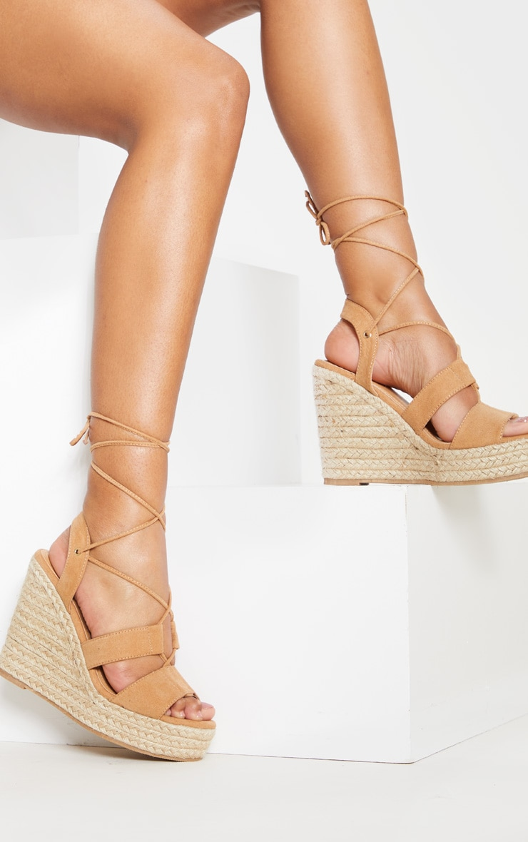 Tan Ghillie Lace Up Espadrille Wedge 1