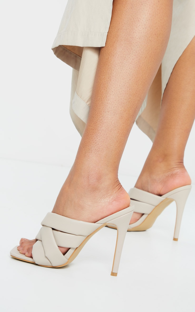 Cream Wide Fit Quilted Woven Strap High Mule Heels 2