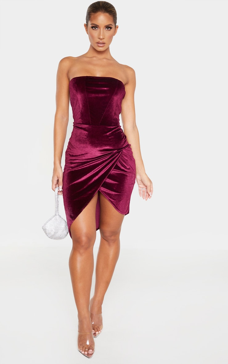 Burgundy Velvet Binding Detail Wrap Over Bandeau Bodycon Dress 4